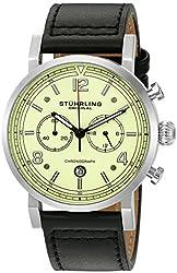 Stuhrling Original Men's 'Aviator' Quartz Stainless Steel and Leather Dress Watch, Color:Black (Model: 583.02)
