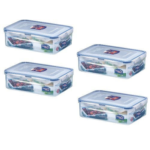 (Pack of 4) LOCK & LOCK Airtight Rectangular Food Storage Container 54.10-oz / 6.76-cup (Cup & Lock Lock Rectangular)