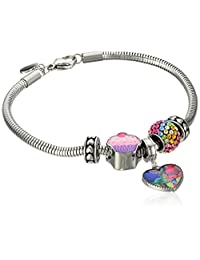 """Trolls Stainless Steel""""Hug Time"""" Heart Charm, Crystal Bead and Cupcake Bundle with Stoppers Charm Bracelet, 7.5"""""""