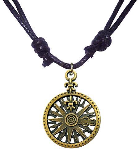 Bijoux De Ja Antique Bronze Fleur de Lis Compass Pendant Adjustable Cord Necklace 16