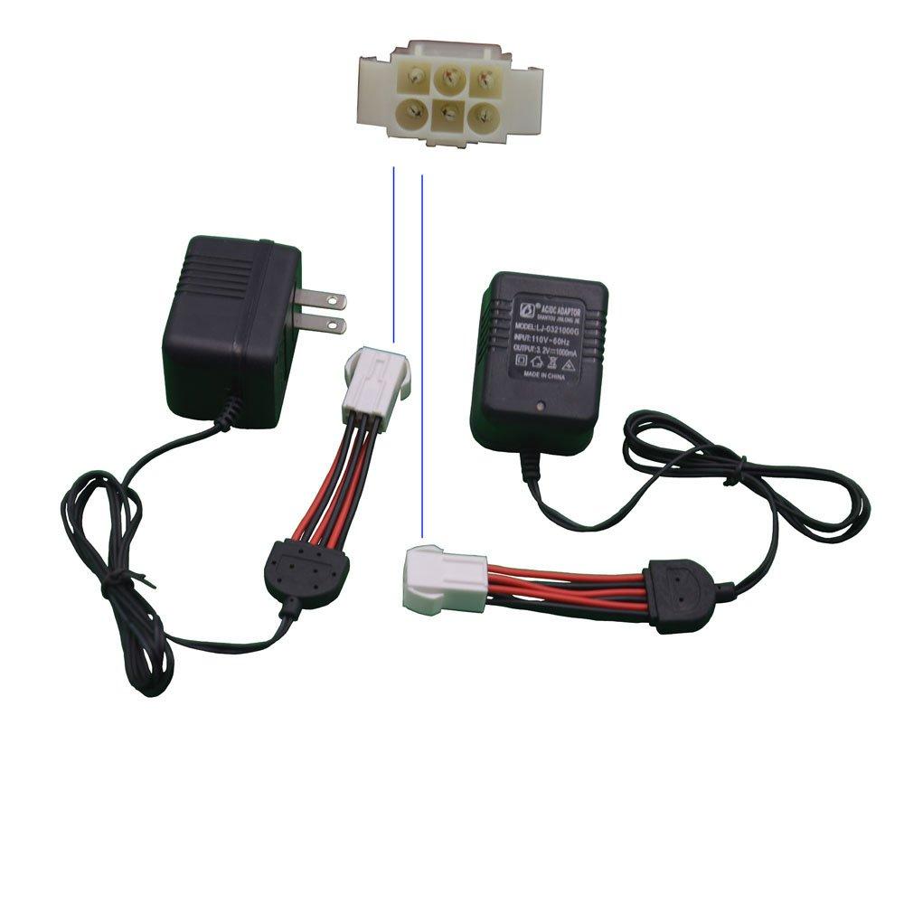 Blomiky New Version 2 Pack US Plug 110V 3.2V 1000mA EL-6P Port for GPTOYS Hosim Foxx 9123 S911 S912 S913 S916 33+MPH New Toy Vehicles 9.6V 800mAH Battery EL6P US Charger 2