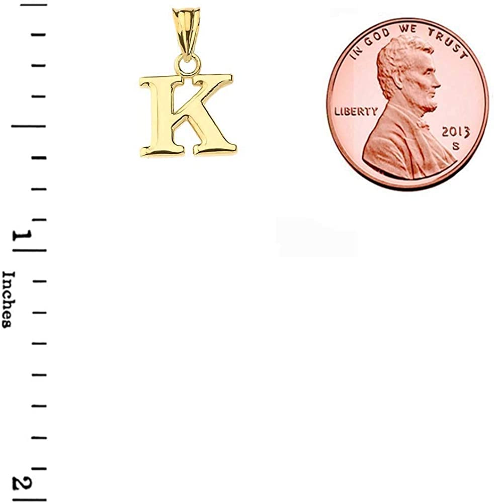 Fine Personalized Initial A-Z Charm Pendant Necklace in Solid 14k Yellow Gold