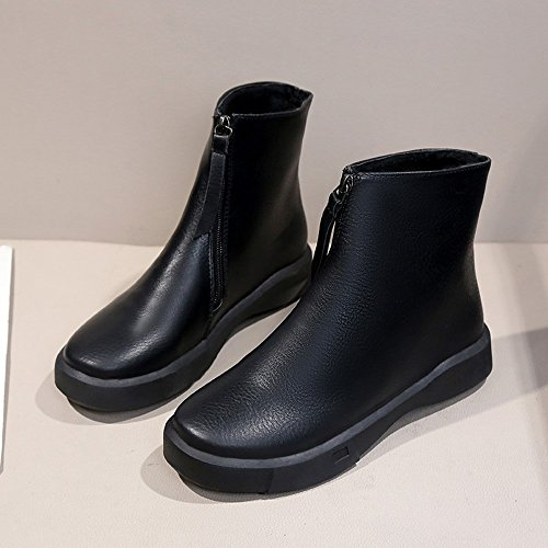 Shoes Boots Boots Thick Flat Fashion Flat Shoes Student Women's Martin Cheap Ankle Boots Boots OverDose Black Short wnq0OCqZ7t