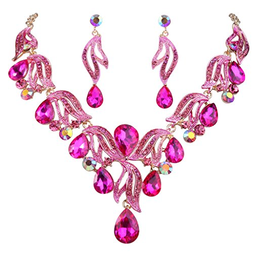 (BriLove Women's Bohemian Boho Bridal Crystal Flower Teardrop Enamel Statement Necklace Dangle Earrings Set Gold-Toned Fuchsia)