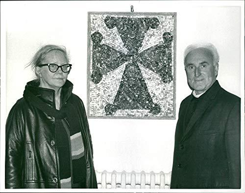 Vintage photo of Fr. Hugh Richmond and Mrs. Viola Schwedel (Christmas Market Church Mosaic)
