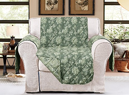 """American Home Reversible Slipcover Furniture Protector with Removable Elastic Strap - Protection from Soils, Spills, Stains and Pets - Carrie Toile (Chair (79"""" x 70""""), Sage)"""