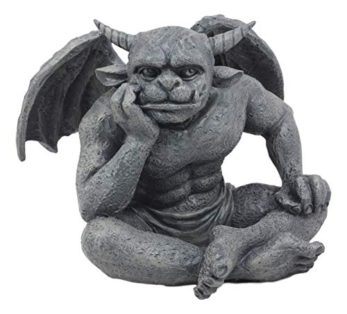 (Ebros Horned Gargoyle The Dreamer Figurine Sitting Statue 6.5 Inch Long Le Penseur Thinker Stoic Watchman As Talisman of Protection Fairy Garden Accessory DIY Renaissance Or Medieval Collectible)