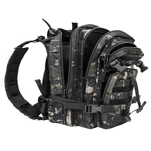 (XWLSPORT Military Tactical BackpackArmy Small 3 Day Assault Pack Military Sport Camping Hiking Trekking Bag School Travel Gym Carrier (Black)