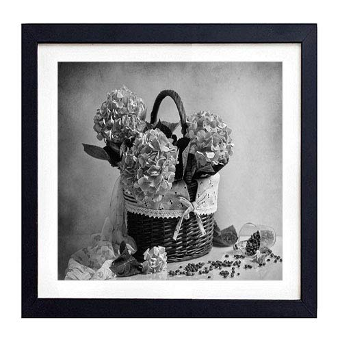 - GLITZFAS PRINTS Framed Wall Art - Hydrangea Shopping Coffee Sprinkle Scarf - Art Print Black Wood Framed Wall Art Picture for Home Decoration - 20