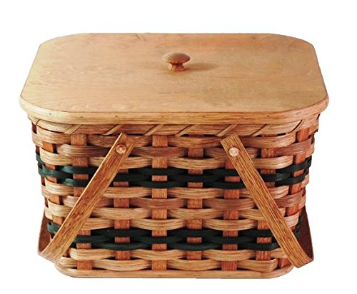 Amish Handmade Small Picnic Basket w/Swinging Handles in Green