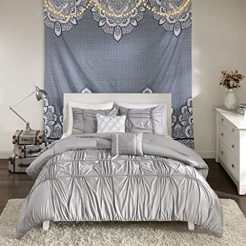 Intelligent Design Benny 5 Piece Metallic Elastic Embroidery Comforter Set Teen Bedroom Bedding, Full/Queen Size, Gray (Renewed)
