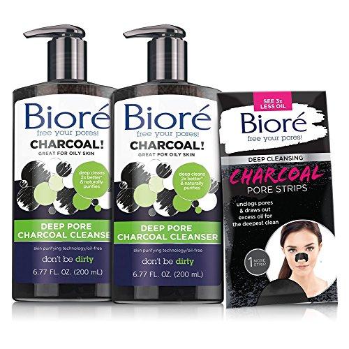 Bioré 2-PACK Deep Pore Charcoal Cleanser for Oily Skin (6.77 oz each) + One Bioré Deep Cleansing Charcoal Pore Strip for Nose