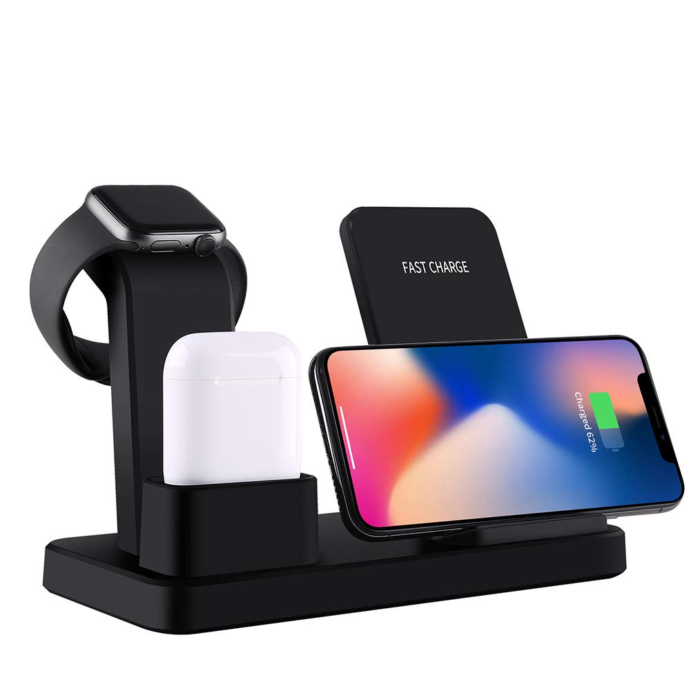 LI-CHARGE 3 in 1 Wireless Charger, Upgraded Version Charging Stand Station for Apple Watch and Airpods, Qi Fast Wireless Charging Dock Compatible for iPhone X/XS/XR/Xs Max/8/8 Plus,Black by LI-CHARGE