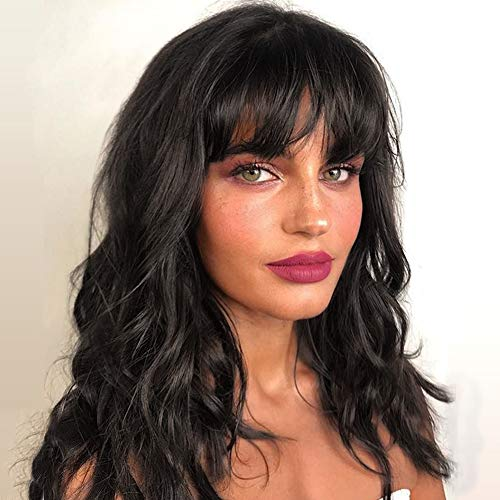 WIGNEE Natural Wave Wigs with Bangs 100% Brazilian Human Hair Fashion Wave Wigs Natural Black (14 Inch) (Best Hairspray For Indian Hair)