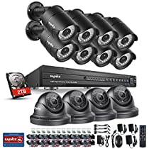 SANNCE 16 Channel 1080P HD DVR Recorder for CCTV Security Camera System with 2 TB Surveillance Hard Drive and (12) 1080P Indoor/Outdoor Weatherproof Cameras