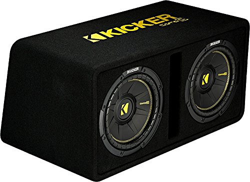 - Kicker Dual 10-Inch 1200 Watt 2 Ohm Vented Loaded Subwoofer Enclosure, 44DCWC102