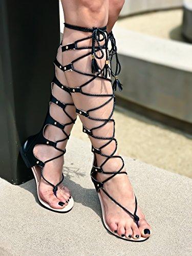 Lolli Couture Evigt Länka Öppen Tå Multi Elastisk Rem Design Dragkedja Spetsar Avslappnad Knä Hög Gladiator Sandaler Black-m64-2