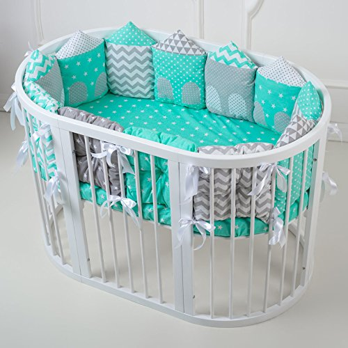 Baby Nursery Crib Bedding Set Premium with Bumpers for Round Crib (Houses Pillow ()
