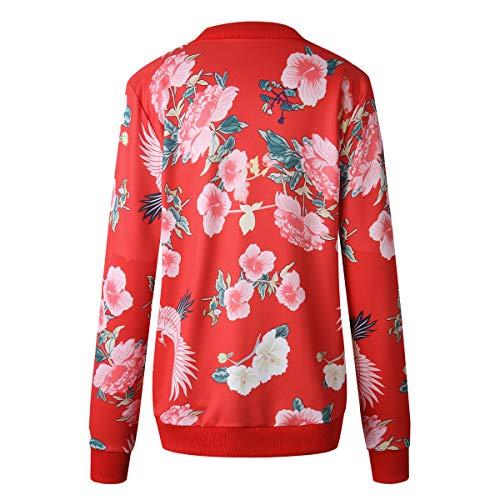 Floreali Con Giacche Rosso Simple Bomber Manica Jacket Casual Lunga Zip Tops Primavera Cime Quotidiani E Autunno fashion Giacca Moda Coat Cappotto Outerwear Donna XwR0wBgq