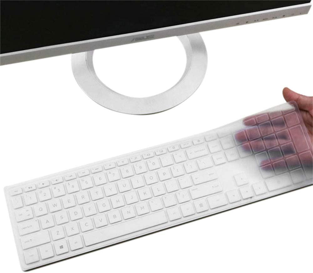 "Silicone Keyboard Cover Skin for HP Pavilion 27 Inch All in One PC Xa0055Ng/Xa0050/0370Nd/0010Na/0076Hk, HP Pavilion 24"" Xa0002A/0300Nd/0051Hk/xa0032, HP Pavilion 23.8"" 22"" Keyboard Protector(Clear)"