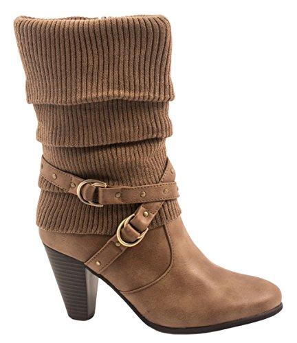 Elara Damen Stiefeletten | Trendige Stulpen Stiefel | Reiterstiefel Trichterabsatz Farbe Khaki, Größe 38