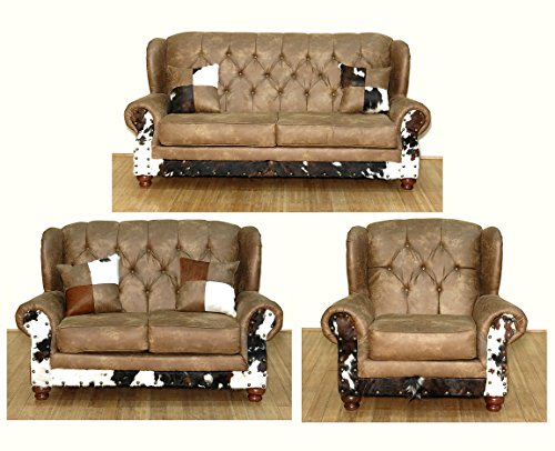 3 Pc Bonded Chestnut Leather w/ Cowhide Wingback Sofa, Loveseat & Chair Living Room Set
