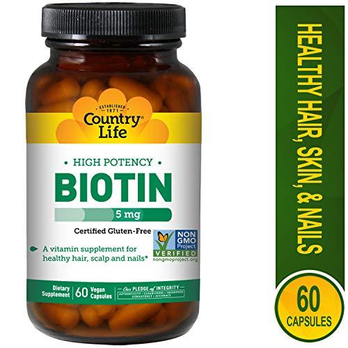Country Life - Biotin High Potency, 5 mg - 60 Vegan Capsules