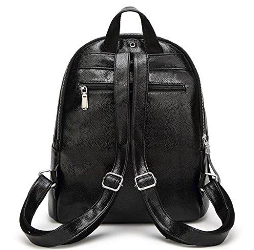 Great Strange Student Double Schultertasche Double Zipper Travel Shopping Große Kapazität PU Schwarz 29 * 11 * 34cm