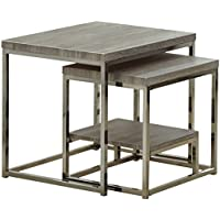 Steve Silver Company Lucia 2 Piece Nesting Tables, 20 x 20 x 20, Grey