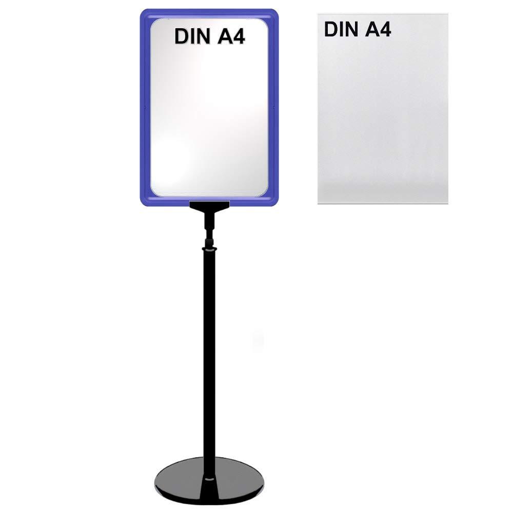 12 Plakatst/änder DIN A4 Rahmen blau mit U-Tasche Aufsteller St/änder Kunststoff schwarz Teleskopst/änder mit rundem Fu/ß Kundenstopper h/öhenverstellbar bis 68 cm