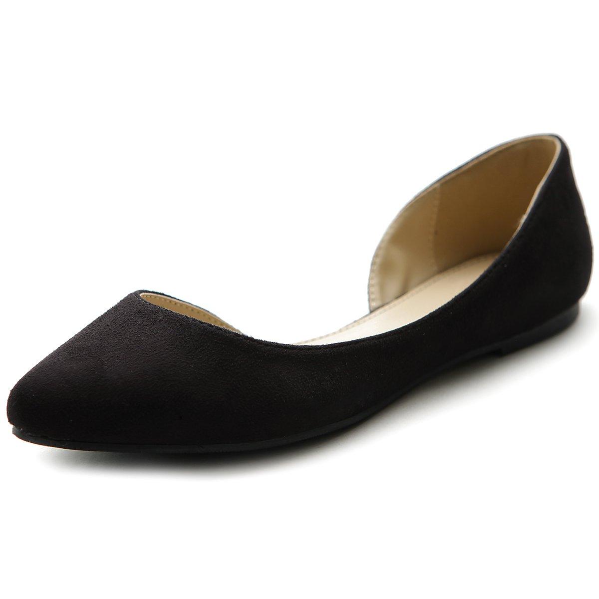 Ollio Women's D'orsay Shoe Comfort Faux suede Pointed Toe Ballet Flat B00P1MJ5GW 7 B(M) US|Black
