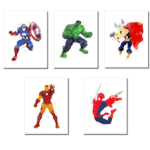 Superhero Watercolor Prints - Set of 5 Photos (8.5 inches x 11 inches) -