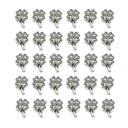 QTMY 30 PCS 5mm Macroporous Fur-leafed Clover Spacer Beads for Project in ()