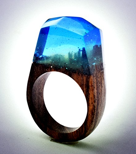 Heyou Love Handmade Wood Resin Ring With Nature Scenery Landscape Inside Jewelry by Heyou Love (Image #1)'