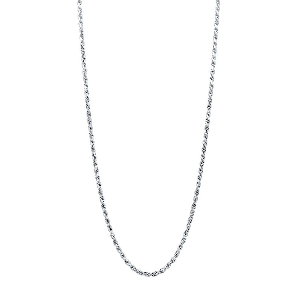 Sterling Silver Diamond Cut High Polished 1.5mm Italian Twisted Rope Chain Necklace 16''-30'' (26)