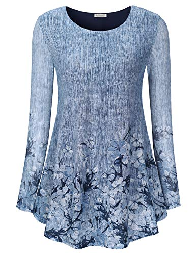 BaiShengGT Women's Long Sleeve Lace Floral Tops, Fall Spring Casaul Flowy Flower Pleated Hem Vintage Tee Shirt Tunic Blouse Top XL Blue Floral 4 (Flower Hem Top)
