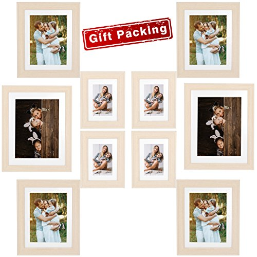 - Painting Photo Frame 10 Pack Vertical or Horizontal Multiple Light Wooden Color- 11x14 Frame(2 pack) 8x10 Frames(4 pack) 5x7 Frames(4 pack) - for Table Top Display and Wall Mounting