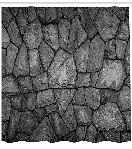 (Ambesonne Grey Shower Curtain, Stone Wall Texture Image Rough Rusty Blocks Obsolete Structure Antique Grunge Weathered, Cloth Fabric Bathroom Decor Set with Hooks, 70 Inches, Grey)