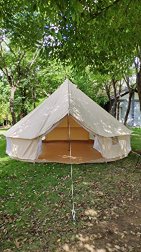 TECHTONGDA 3m Cotton Canvas Bell Tent Waterproof Hunting Camping Yurt Tent Luxury(9.8ft(3m) for 3-5 Persons)