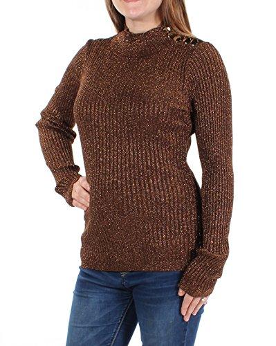 Sweater Nylon Metallic (INC Womens Ribbed Knit Metallic Mock Turtleneck Sweater Bronze M)