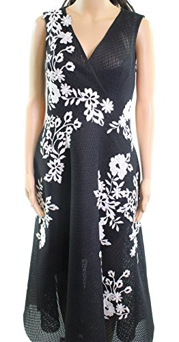 Teri Jon Womens Embroidered Floral Sheath Dress Black 6