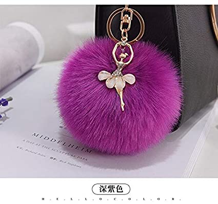 Amazon.com: Rarido 10CM Fluffy Fake Fur Pompom Keychain ...