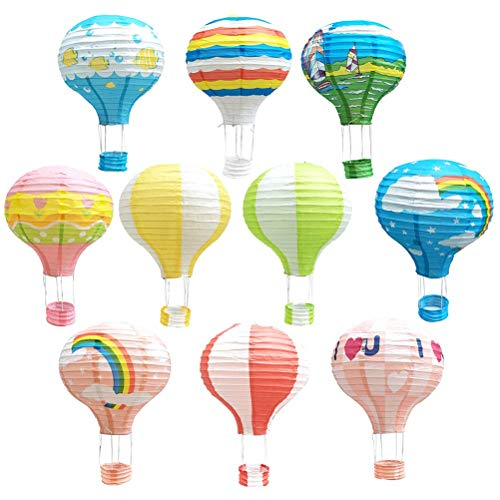 TOYMYTOY Paper Lantern,12 Inch Hanging Hot Air Balloon for Party Decorations,10Pcs]()