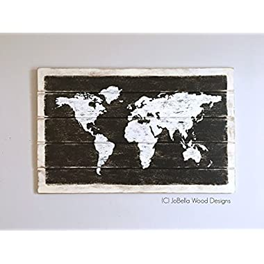 World Map Distressed Wood Wall Hanging - Fits Pallet, Reclaimed Wood, Rustic, Shabby Chic, U rban and Industrial Home Decor - Two Sizes
