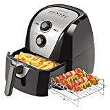 Secura Electric Hot Air Fryer Extra Large Capacity Air Fryer and additional accessories; Recipes and skewers accessory set (5.3Qt)