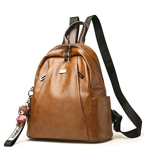 DEERWORD Mujer Bolsos mochila Bolsas escolares Bolsos bandolera Shoppers y bolsos de hombro Cuero de PU Barna