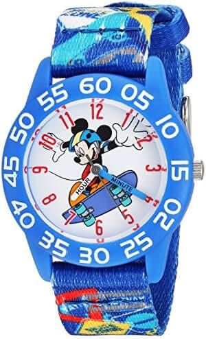Disney Boy's 'Mickey Mouse' Quartz Plastic and Nylon Casual Watch, Color:Blue (Model: WDS000126)