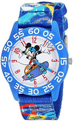 Disney Boy's 'Mickey Mouse' Quartz Plastic and Nylon Casual Watch, Color:Blue (Model: WDS000126)