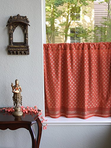 Saffron Marigold – Dreams of India: Shimmering Goldstone – Orange and Gold Sari Inspired Hand Printed – Sheer Cotton Voile Kitchen Curtain Panel – Rod Pocket – (46 x 24) - Zarin Spice