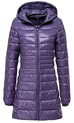 Cromoncent Women's Lightweight Solid Hooded Packable Winter Puffer Coats